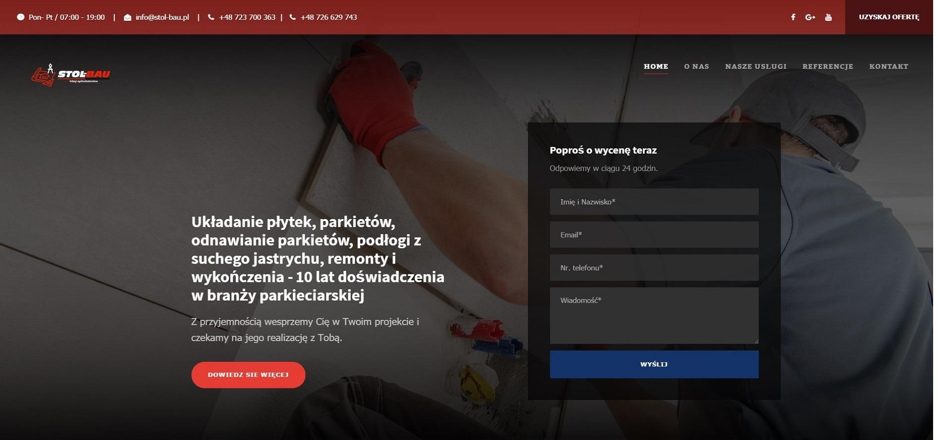 Zrzut ekranu ze strony stol-bau.pl